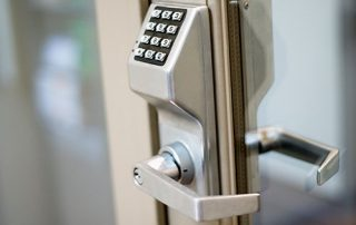 Picture of access keypad on door