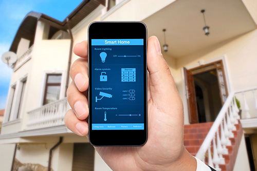Picture of phone showing integrated security system